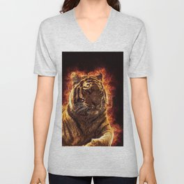 Burning Tiger Unisex V-Neck
