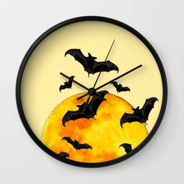 BLACK FLYING BATS FULL MOON ART Wall Clock