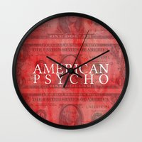 american psycho Wall Clocks featuring American Psycho by Robert Payton