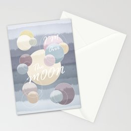 I'm Over the Moon Planetary Landscape Stationery Cards