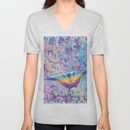 Vibrant Little Butterfly Unisex V-Neck