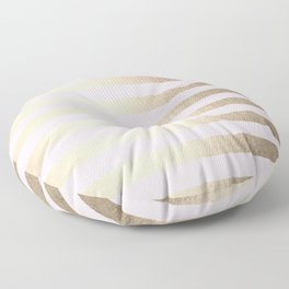 Stripes White Gold Sands on Pink Flamingo Floor Pillow