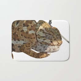 Chameleon Hanging On A Wire Fence Vector Bath Mat