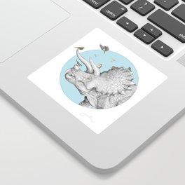 Triceratops and Birdies Sticker