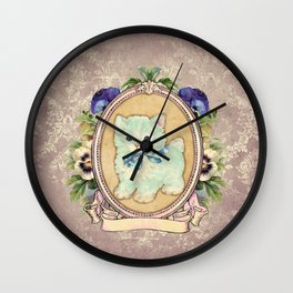 Kitschy Blue Kitten Wall Clock