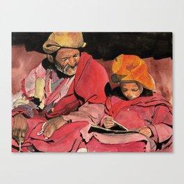 Lama and novice Canvas Print