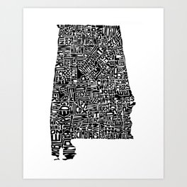 Typographic Alabama Art Print