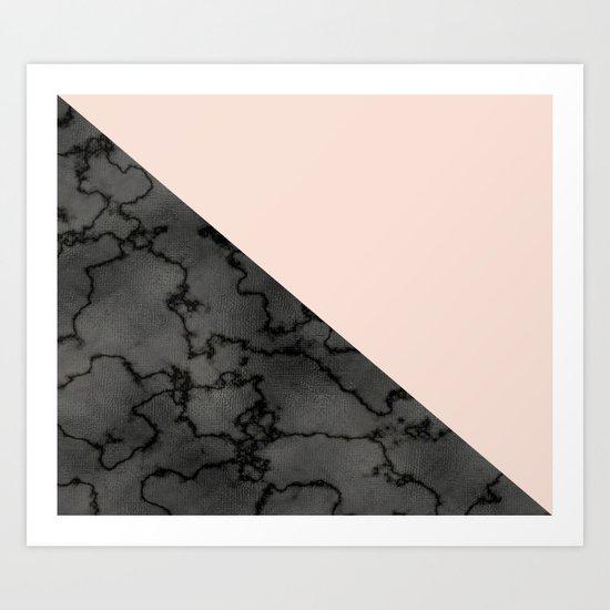 Peach and black dark marble Art Print
