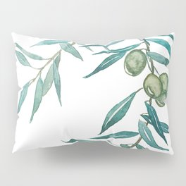 green olive leaf watercolor Pillow Sham