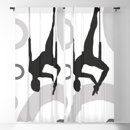 Trapeze Rings black and white Blackout Curtain