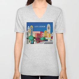 Ann Arbor, Michigan - Skyline Illustration by Loose Petals Unisex V-Neck