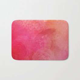 Pink Butterfly Vintage Roses Background Pattern Bath Mat