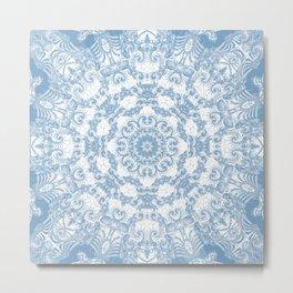 Blue and White Mandala Metal Print