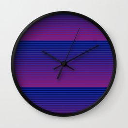 MID CENTURY MODERN BRIGHT BLUE AND FUCHSIA SUMMER STRIPES Wall Clock