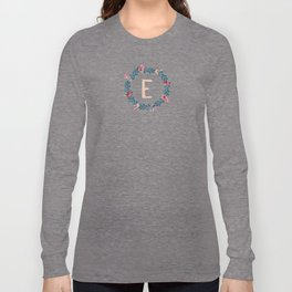 Watercolor Monogram Wreath Letter E Long Sleeve T-shirt