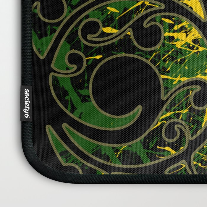 Rasta Colors On Maori Patterns Laptop Sleeve By Fascinating Maori Patterns