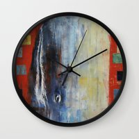 moby dick Wall Clocks featuring Moby Dick by Michael Creese