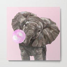 Baby Elephant Blowing Bubble Gum Metal Print