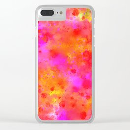 Watercolor Painting Bright Red & Summer Pink Abstract Paint Splashes Clear iPhone Case