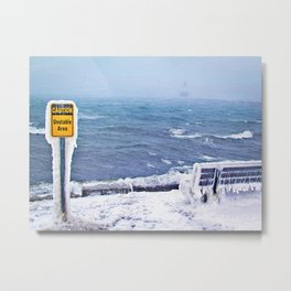 Blizzard at Spring Point Ledge Lighthouse, Maine (1) Metal Print