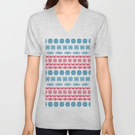 Hand painted blue red watercolor scandinavian geometrical pattern Unisex V-Neck