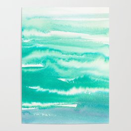 Modern abstract turquoise aqua watercolor Poster