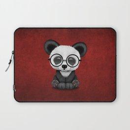 Cute Panda Bear Cub with Eye Glasses on Red Laptop Sleeve