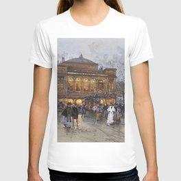 Theater du Chatelet, Paris Opera House, France portrait painting by Eugene Galian Laloue T-shirt