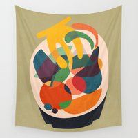 wooden Wall Tapestries featuring Fruits in wooden bowl by Picomodi