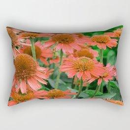 Coral Echinacea Garden Flowers Rectangular Pillow