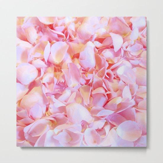 Pink flower petals - Beautiful floral rose roses background Metal Print