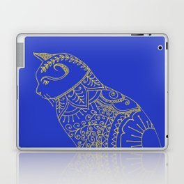 Doodled cat in golden yellow and blue. Laptop & iPad Skin