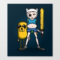finn and jake Canvas Prints featuring Finn & Jake by mebz art