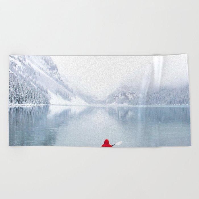 Kayaking Across A Canadian Lake Beach Towel