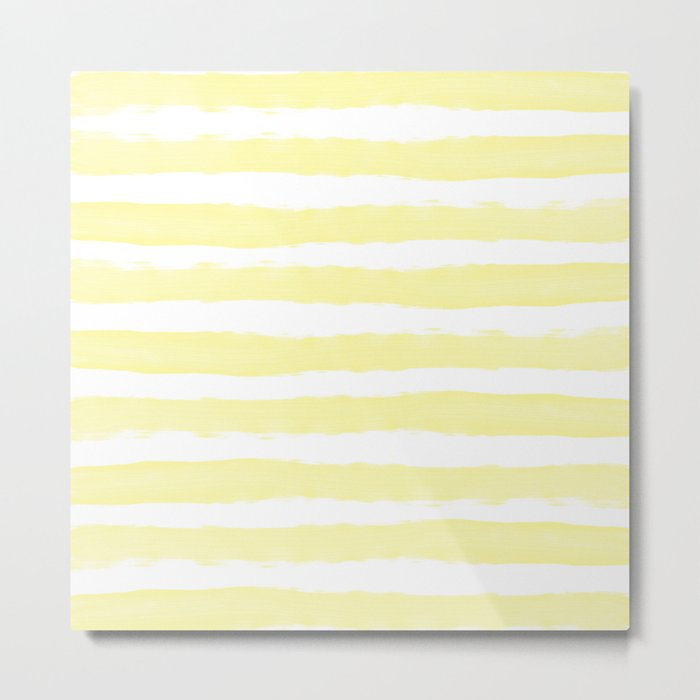 Sunny Yellow Handdrawn horizontal Beach Stripes - Mix and Match with Simplicity of Life Metal Print
