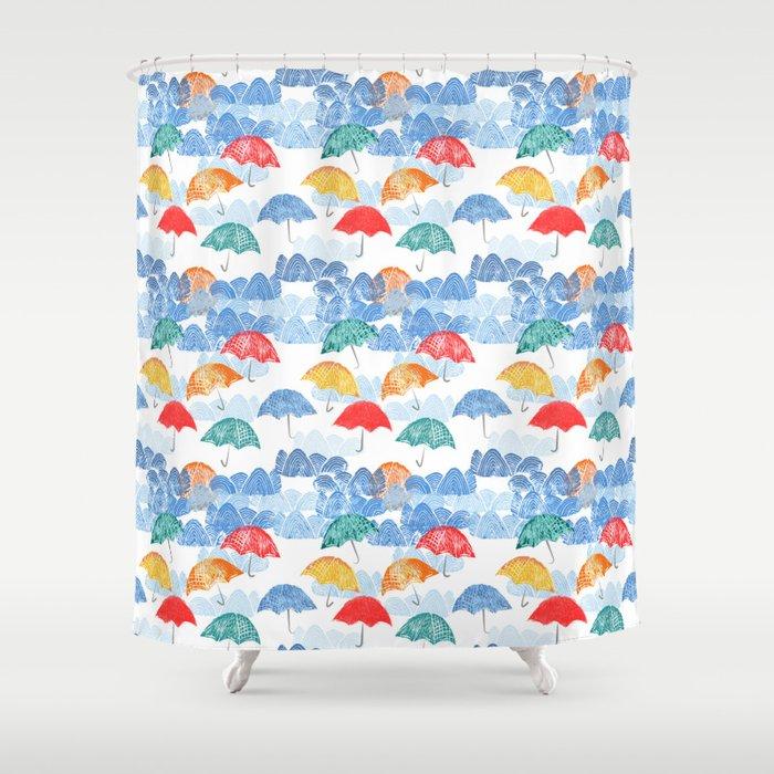 Umbrella Spring Shower Curtain
