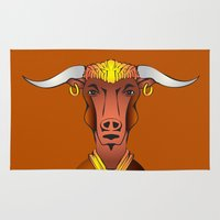bull Area & Throw Rugs featuring Bull by ale_z