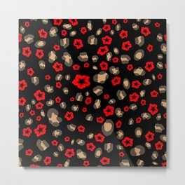 Romantic Leopard Print with Red Flowers on Black Metal Print