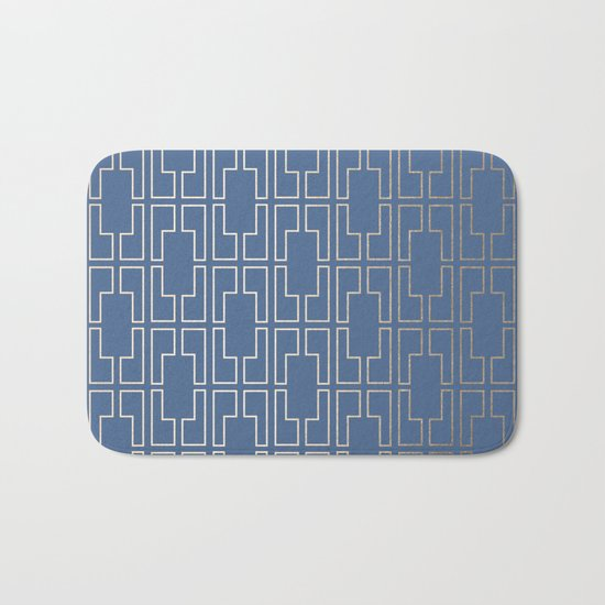 Simply Mid-Century in White Gold Sands and Aegean Blue Bath Mat