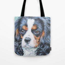 Beautiful Tricolour Cavalier King Charles Spaniel Dog Painting by L.A.Shepard Tote Bag