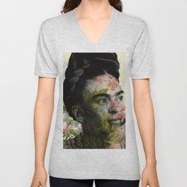 Flowered Frida Kahlo Unisex V-Neck