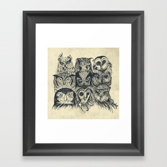 Nine Owls Framed Art Print