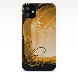 Dark Forest at Dawn in Amber iPhone Case