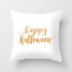 Happy Halloween | Orange Glitter Throw Pillow