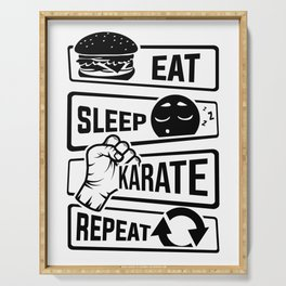 Eat Sleep Karate Repeat - Martial Arts Defence Serving Tray