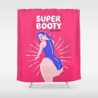 booty Shower Curtains featuring Super Booty by afrancesado