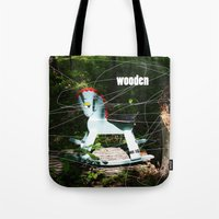 wooden Tote Bags featuring wooden by Dan Brennan