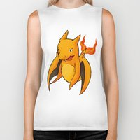 charizard Biker Tanks featuring Charizard Whale by CoolBreezDesigns