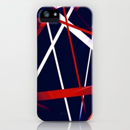 Seamless Red and White Stripes on A Blue Background iPhone Case