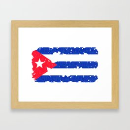 Grundge stylized cuban flag Framed Art Print